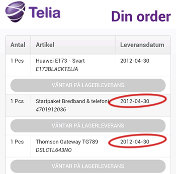 telia leveranstid bredband